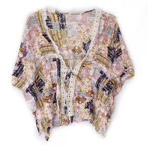 Liberty Love Floral Lace Open Cardigan Kimono Sz M